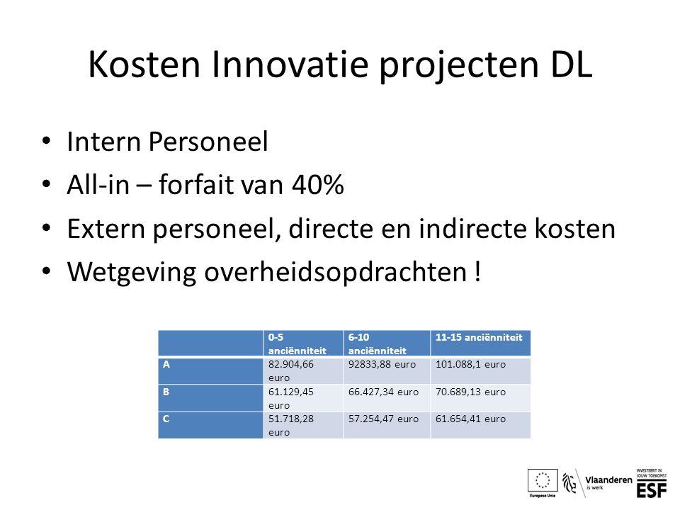 Kosten Innovatie projecten DL Intern Personeel All-in – forfait van 40% Extern personeel, directe en indirecte kosten Wetgeving overheidsopdrachten !