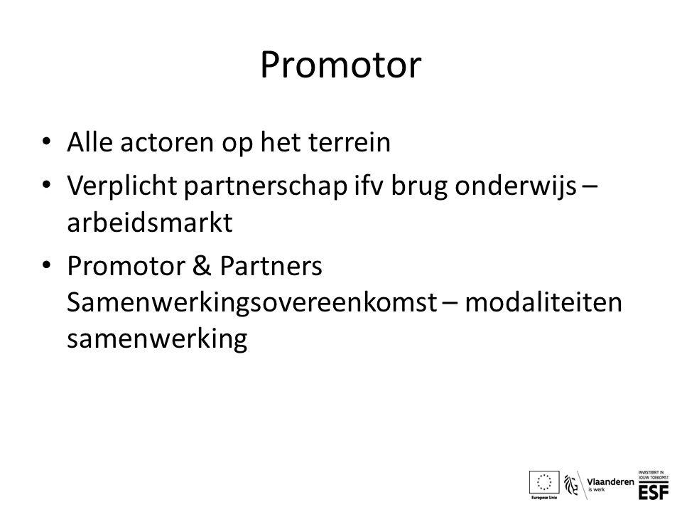 Promotor Alle actoren op het terrein Verplicht partnerschap ifv brug onderwijs – arbeidsmarkt Promotor & Partners Samenwerkingsovereenkomst – modaliteiten samenwerking