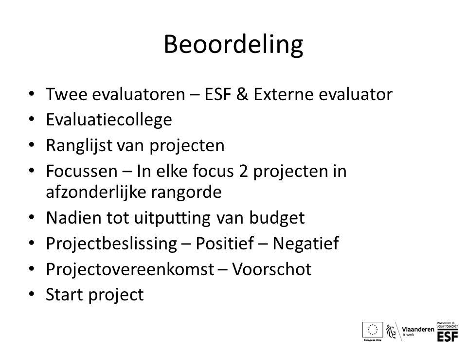 Beoordeling Twee evaluatoren – ESF & Externe evaluator Evaluatiecollege Ranglijst van projecten Focussen – In elke focus 2 projecten in afzonderlijke