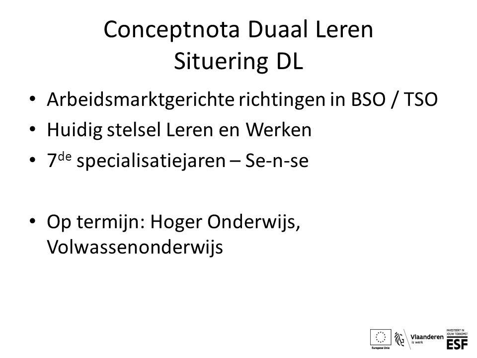 Conceptnota Duaal Leren Situering DL Arbeidsmarktgerichte richtingen in BSO / TSO Huidig stelsel Leren en Werken 7 de specialisatiejaren – Se-n-se Op termijn: Hoger Onderwijs, Volwassenonderwijs