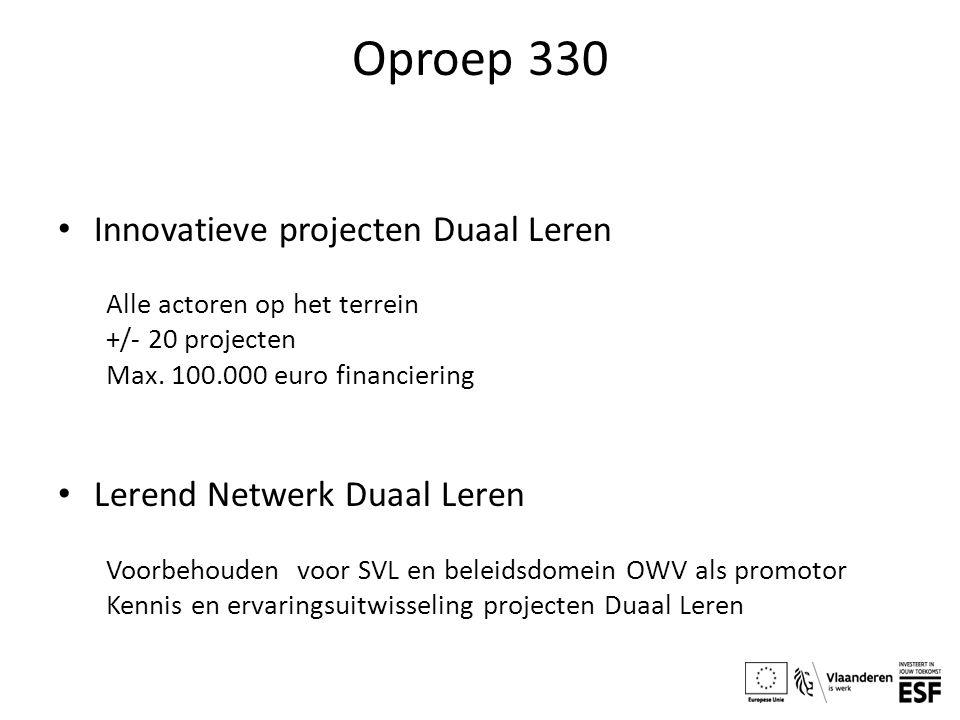Oproep 330 Innovatieve projecten Duaal Leren Alle actoren op het terrein +/- 20 projecten Max. 100.000 euro financiering Lerend Netwerk Duaal Leren Vo