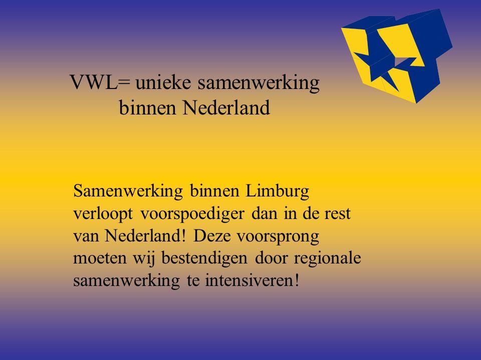 VWL= unieke samenwerking binnen Nederland Samenwerking binnen Limburg verloopt voorspoediger dan in de rest van Nederland! Deze voorsprong moeten wij