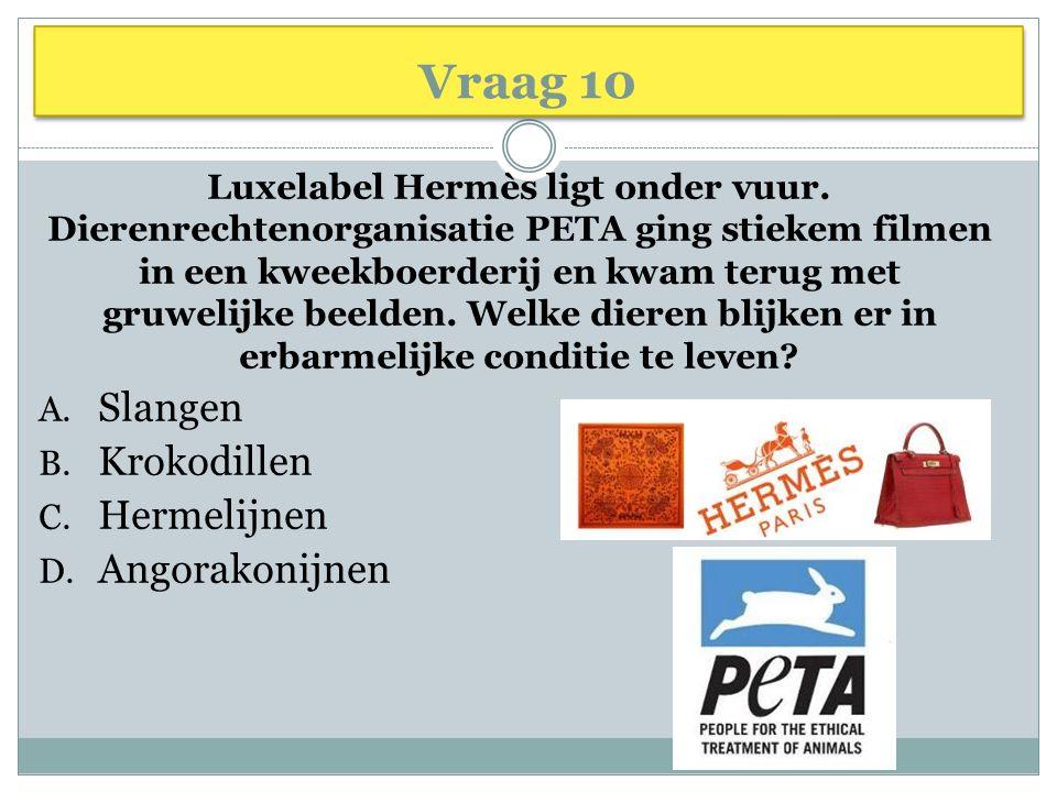 Vraag 10 Luxelabel Hermès ligt onder vuur.