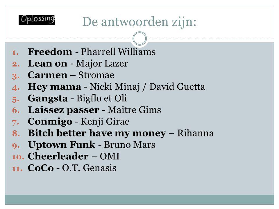 De antwoorden zijn: 1.Freedom - Pharrell Williams 2.