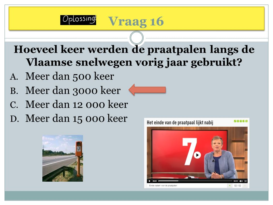 Vraag 16 Hoeveel keer werden de praatpalen langs de Vlaamse snelwegen vorig jaar gebruikt.