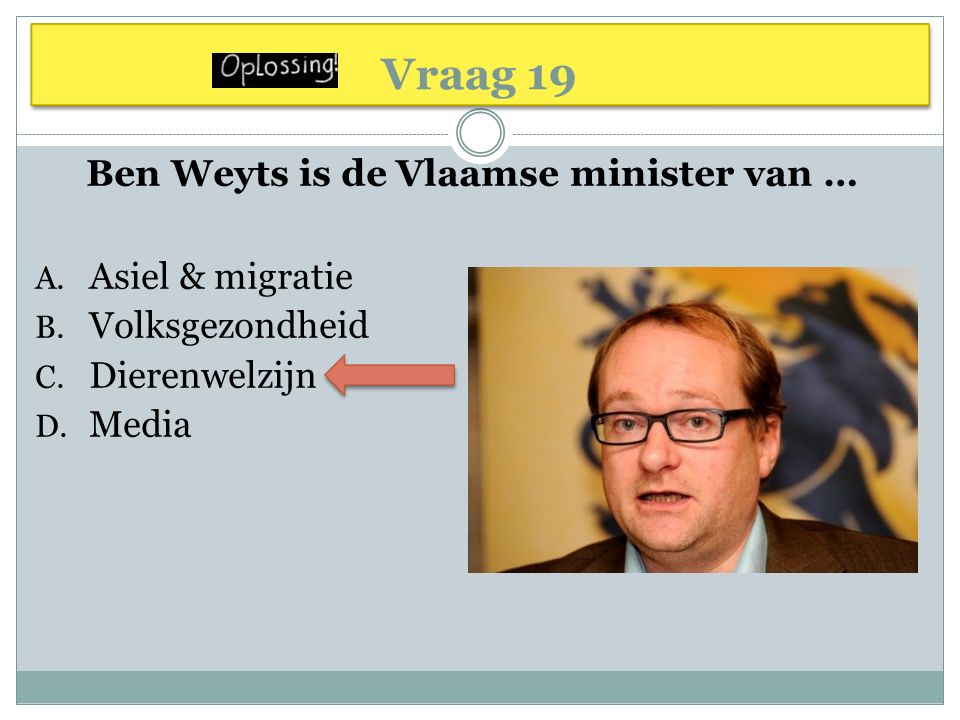 Vraag 19 Ben Weyts is de Vlaamse minister van … A.