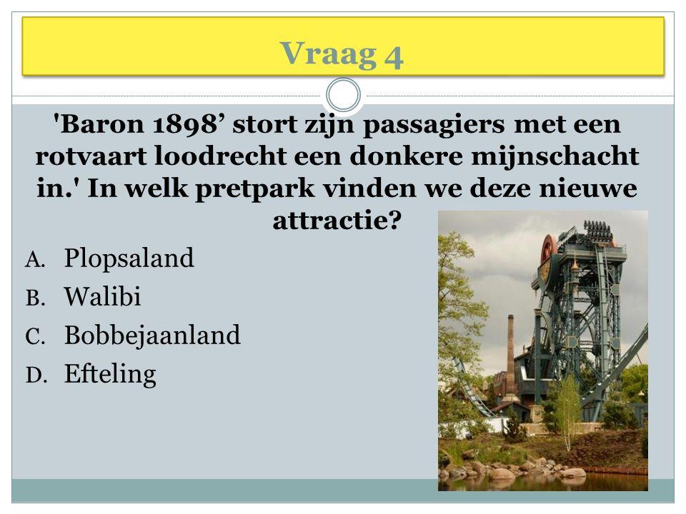Vraag 4 'Baron 1898' stort zijn passagiers met een rotvaart loodrecht een donkere mijnschacht in.' In welk pretpark vinden we deze nieuwe attractie? A