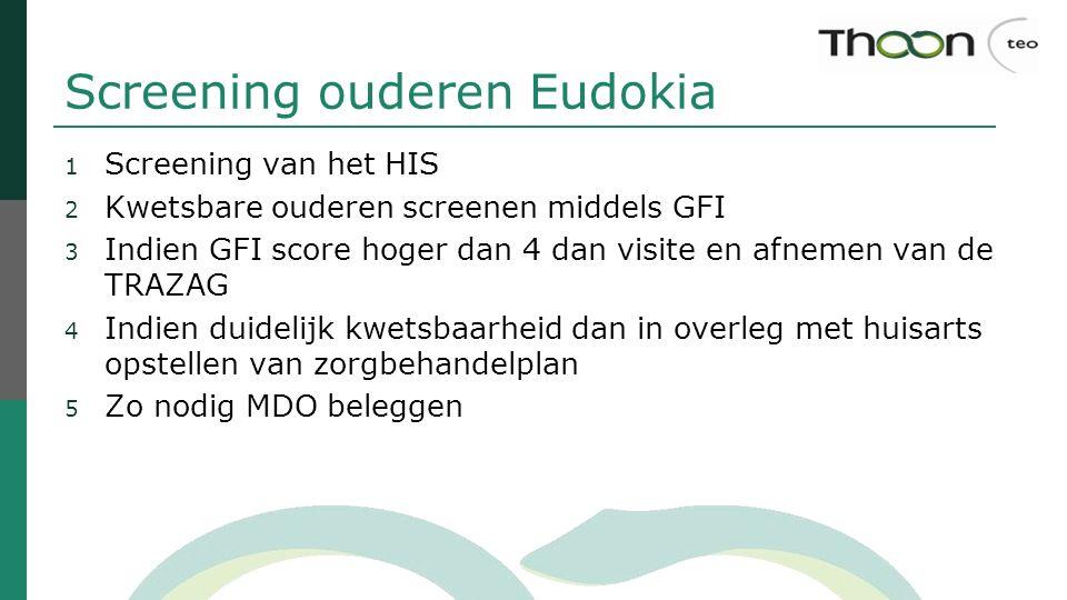Screening ouderen Eudokia 1 Screening van het HIS 2 Kwetsbare ouderen screenen middels GFI 3 Indien GFI score hoger dan 4 dan visite en afnemen van de