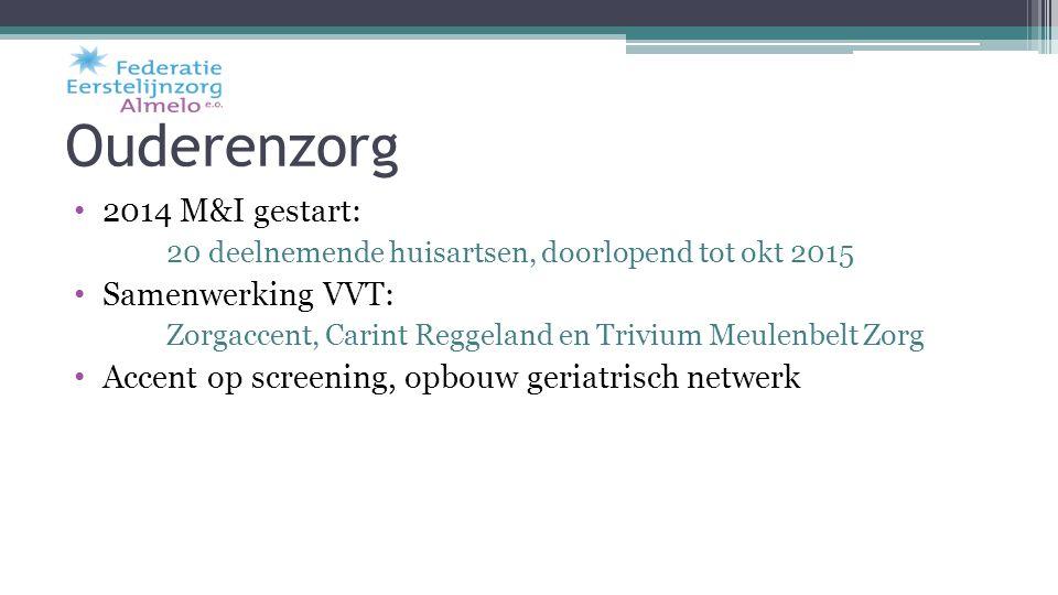 Ouderenzorg 2014 M&I gestart: 20 deelnemende huisartsen, doorlopend tot okt 2015 Samenwerking VVT: Zorgaccent, Carint Reggeland en Trivium Meulenbelt
