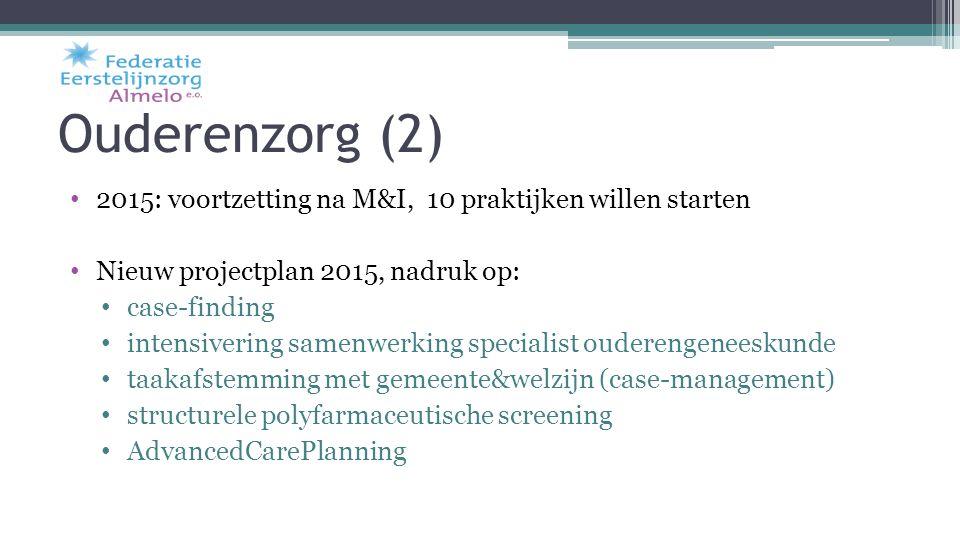 Ouderenzorg (2) 2015: voortzetting na M&I, 10 praktijken willen starten Nieuw projectplan 2015, nadruk op: case-finding intensivering samenwerking spe