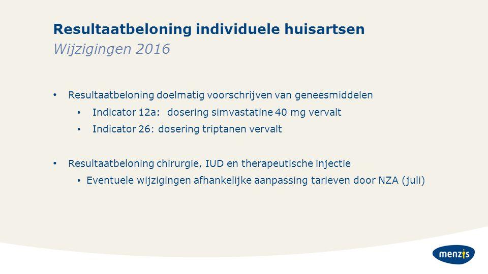 Resultaatbeloning individuele huisartsen Resultaatbeloning doelmatig voorschrijven van geneesmiddelen Indicator 12a: dosering simvastatine 40 mg verva