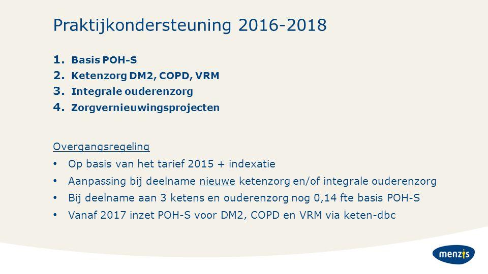 Praktijkondersteuning 2016-2018 1. Basis POH-S 2. Ketenzorg DM2, COPD, VRM 3. Integrale ouderenzorg 4. Zorgvernieuwingsprojecten Overgangsregeling Op