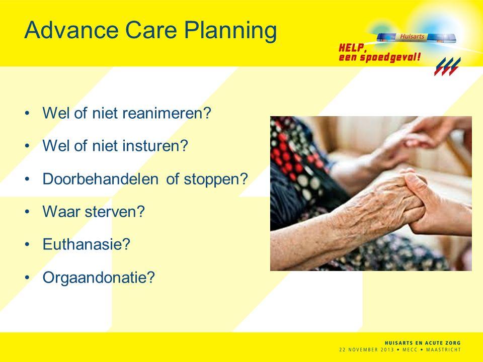 Advance Care Planning Wel of niet reanimeren.Wel of niet insturen.