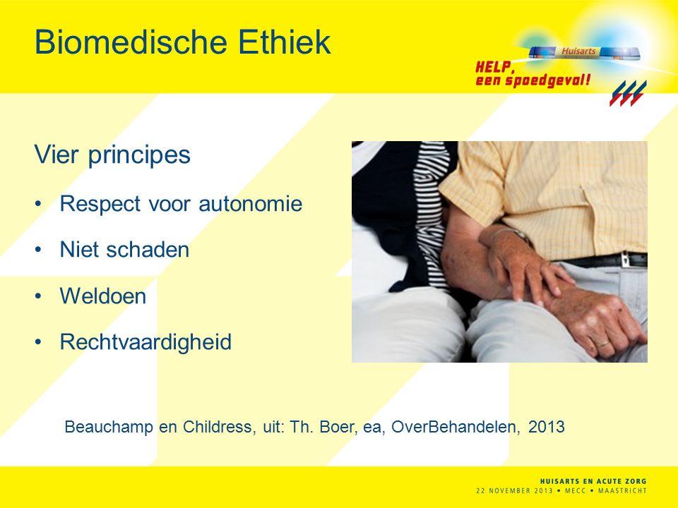 Biomedische Ethiek Vier principes Respect voor autonomie Niet schaden Weldoen Rechtvaardigheid Beauchamp en Childress, uit: Th.