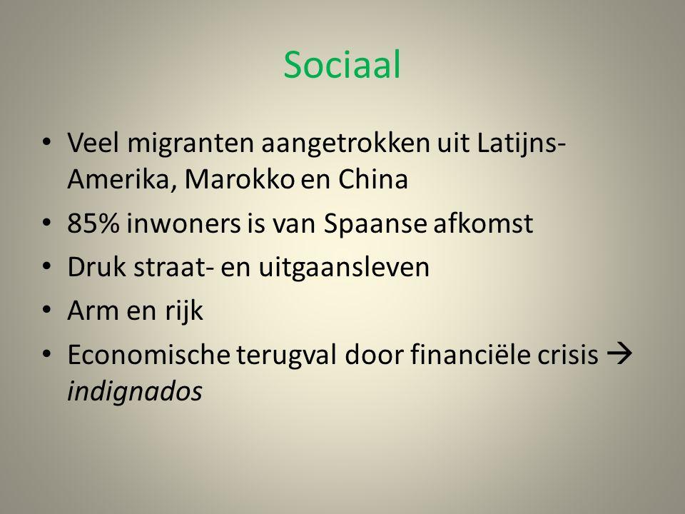 Sociaal Veel migranten aangetrokken uit Latijns- Amerika, Marokko en China 85% inwoners is van Spaanse afkomst Druk straat- en uitgaansleven Arm en rijk Economische terugval door financiële crisis  indignados