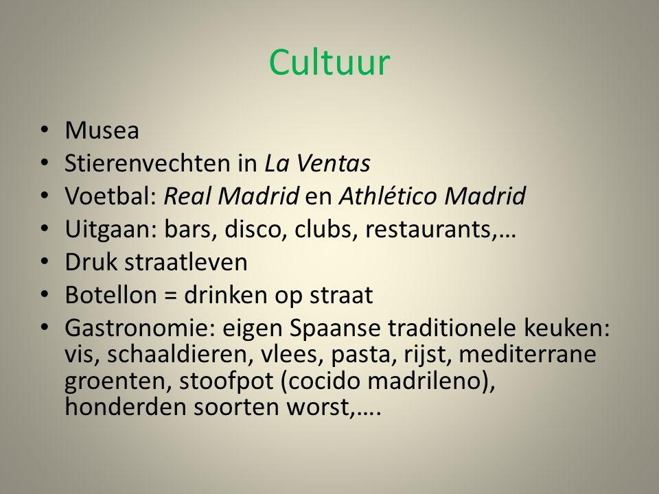 Cultuur Musea Stierenvechten in La Ventas Voetbal: Real Madrid en Athlético Madrid Uitgaan: bars, disco, clubs, restaurants,… Druk straatleven Botello