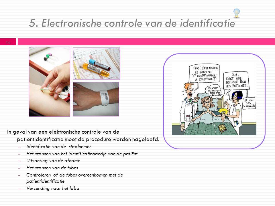 5. Electronische controle van de identificatie In geval van een elektronische controle van de patiëntidentificatie moet de procedure worden nageleefd.