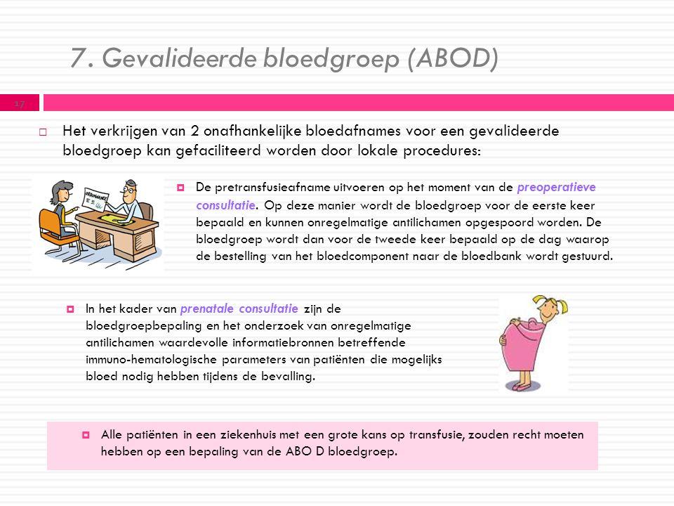 7. Gevalideerde bloedgroep (ABOD)  Het verkrijgen van 2 onafhankelijke bloedafnames voor een gevalideerde bloedgroep kan gefaciliteerd worden door lo