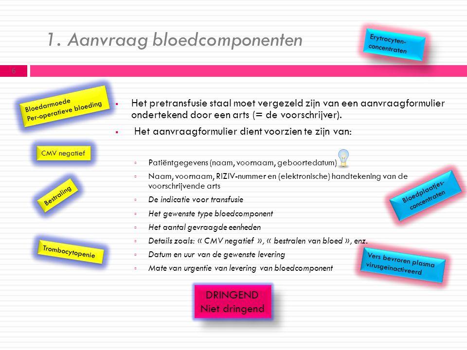 1. Aanvraag bloedcomponenten  Het pretransfusie staal moet vergezeld zijn van een aanvraagformulier ondertekend door een arts (= de voorschrijver). 
