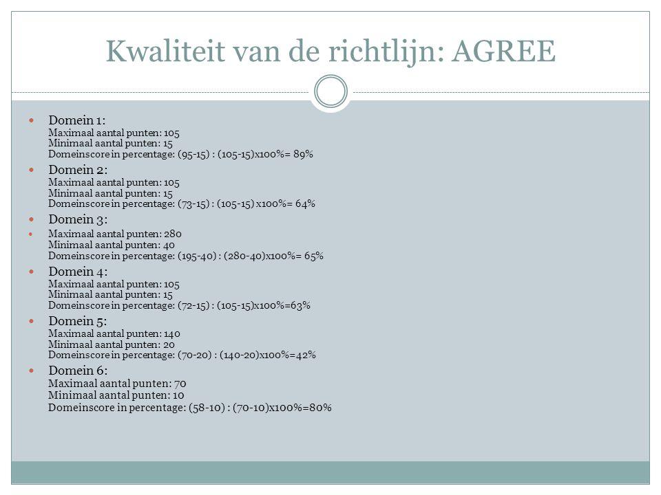 Kwaliteit van de richtlijn: AGREE Domein 1: Maximaal aantal punten: 105 Minimaal aantal punten: 15 Domeinscore in percentage: (95-15) : (105-15)x100%=