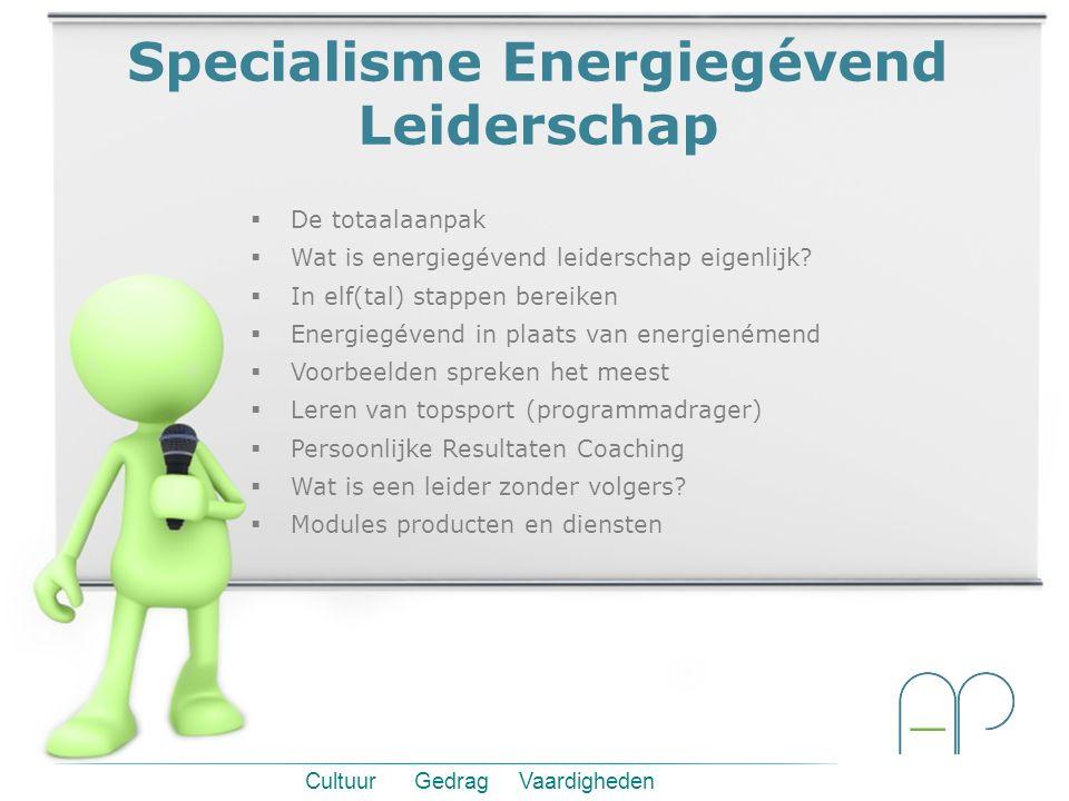Cultuur Gedrag Vaardigheden Specialisme Energiegévend Leiderschap  De totaalaanpak  Wat is energiegévend leiderschap eigenlijk.