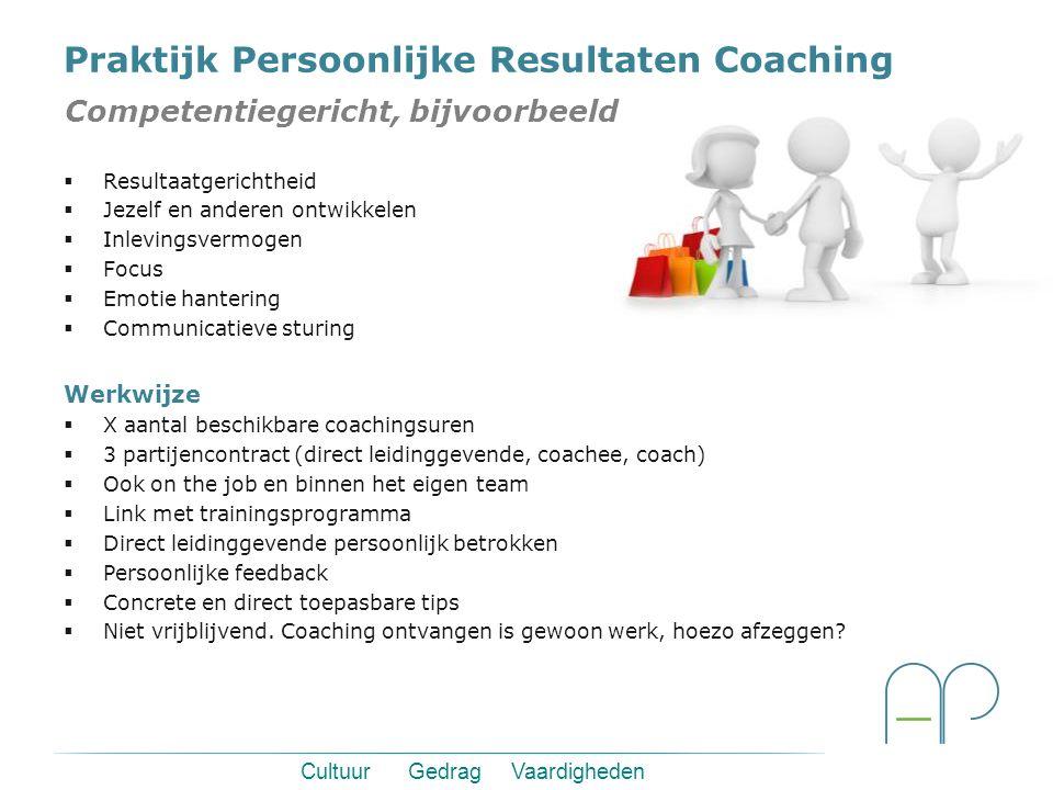 Cultuur Gedrag Vaardigheden Persoonlijke Resultaten Coaching De deelnemers (coachees) worden niet alleen getraind en vervolgens aan hun lot overgelate