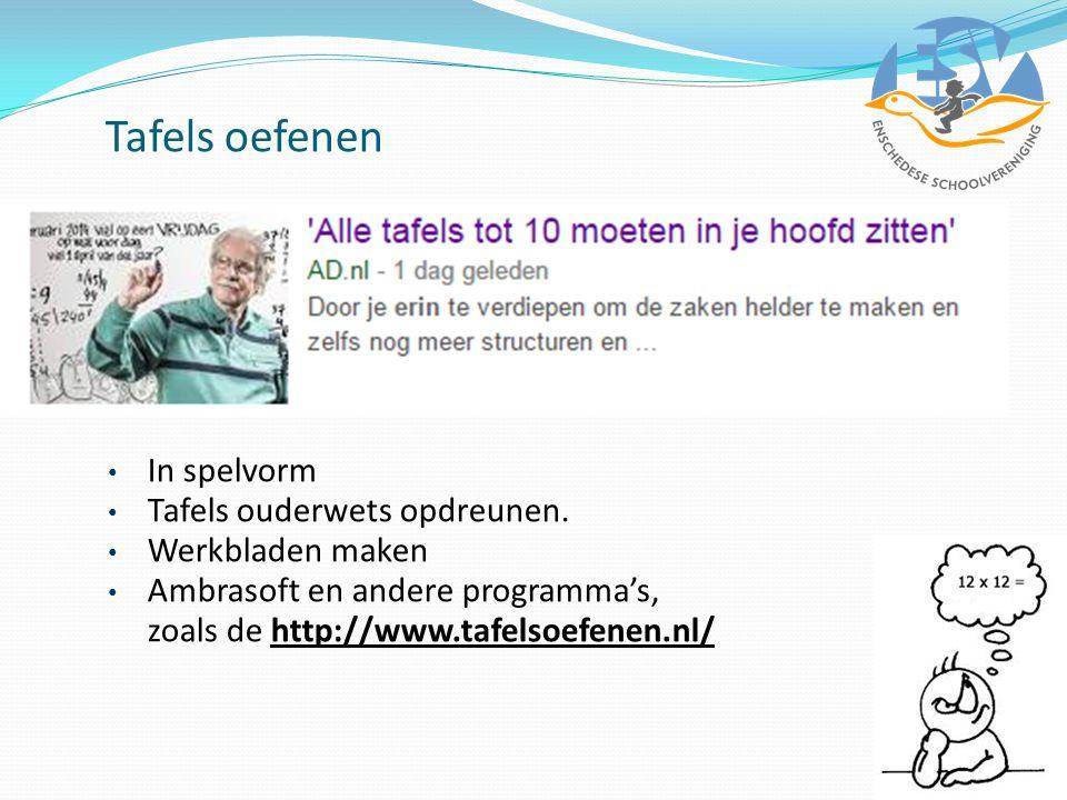 Tafels oefenen In spelvorm Tafels ouderwets opdreunen. Werkbladen maken Ambrasoft en andere programma's, zoals de http://www.tafelsoefenen.nl/