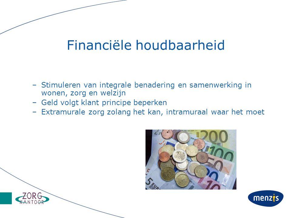 Financiële houdbaarheid –Stimuleren van integrale benadering en samenwerking in wonen, zorg en welzijn –Geld volgt klant principe beperken –Extramurale zorg zolang het kan, intramuraal waar het moet