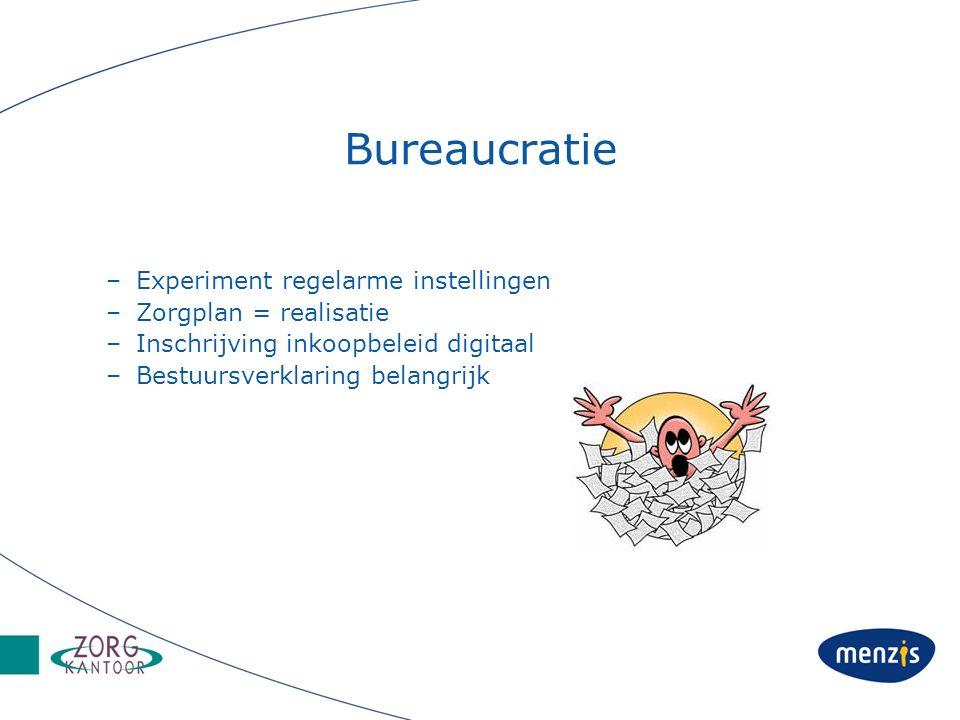 Bureaucratie –Experiment regelarme instellingen –Zorgplan = realisatie –Inschrijving inkoopbeleid digitaal –Bestuursverklaring belangrijk