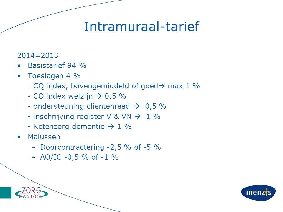 Intramuraal-tarief 2014=2013 Basistarief 94 % Toeslagen 4 % - CQ index, bovengemiddeld of goed  max 1 % - CQ index welzijn  0,5 % - ondersteuning cliëntenraad  0,5 % - inschrijving register V & VN  1 % - Ketenzorg dementie  1 % Malussen –Doorcontractering -2,5 % of -5 % –AO/IC -0,5 % of -1 %