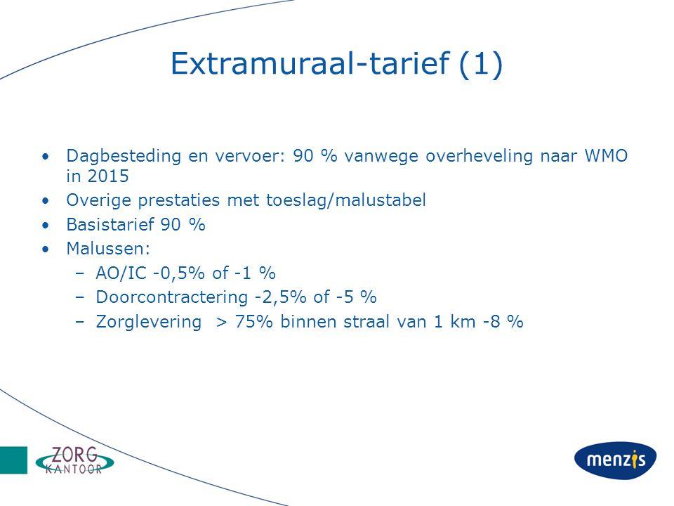 Extramuraal-tarief (1) Dagbesteding en vervoer: 90 % vanwege overheveling naar WMO in 2015 Overige prestaties met toeslag/malustabel Basistarief 90 % Malussen: –AO/IC -0,5% of -1 % –Doorcontractering -2,5% of -5 % –Zorglevering > 75% binnen straal van 1 km -8 %