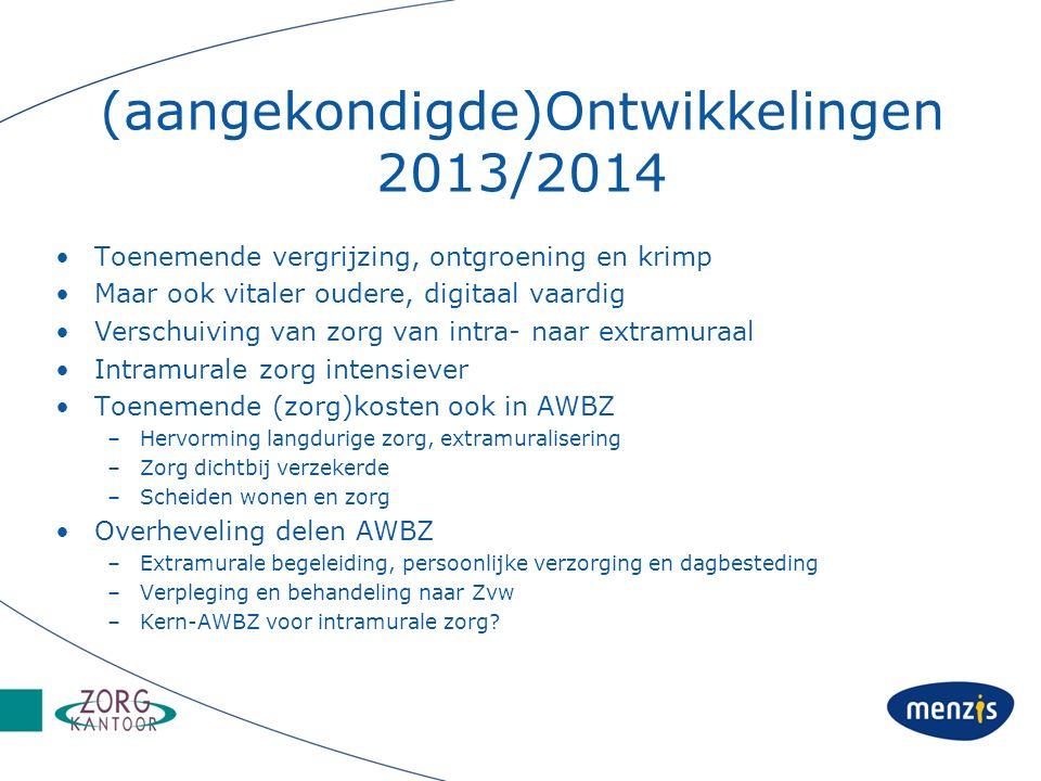 (aangekondigde)Ontwikkelingen 2013/2014 Toenemende vergrijzing, ontgroening en krimp Maar ook vitaler oudere, digitaal vaardig Verschuiving van zorg van intra- naar extramuraal Intramurale zorg intensiever Toenemende (zorg)kosten ook in AWBZ –Hervorming langdurige zorg, extramuralisering –Zorg dichtbij verzekerde –Scheiden wonen en zorg Overheveling delen AWBZ –Extramurale begeleiding, persoonlijke verzorging en dagbesteding –Verpleging en behandeling naar Zvw –Kern-AWBZ voor intramurale zorg?