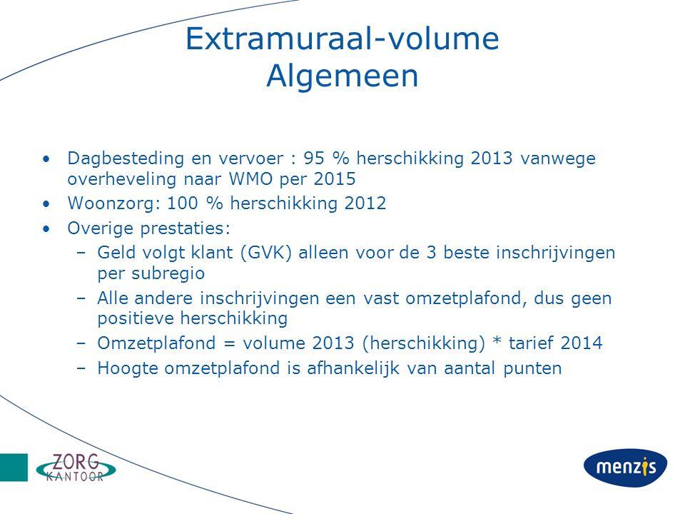 Extramuraal-volume Algemeen Dagbesteding en vervoer : 95 % herschikking 2013 vanwege overheveling naar WMO per 2015 Woonzorg: 100 % herschikking 2012