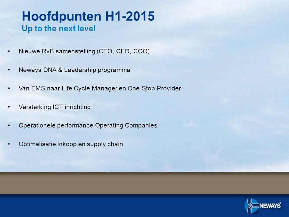 Nieuwe RvB samenstelling (CEO, CFO, COO) Neways DNA & Leadership programma Van EMS naar Life Cycle Manager en One Stop Provider Versterking ICT inrich