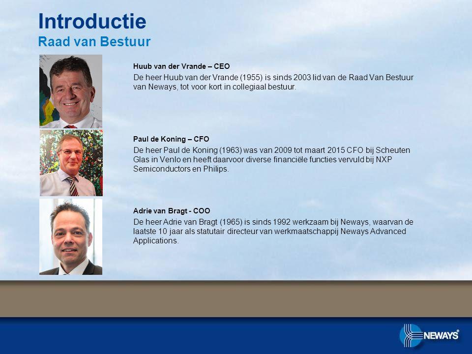 Huub van der Vrande – CEO De heer Huub van der Vrande (1955) is sinds 2003 lid van de Raad Van Bestuur van Neways, tot voor kort in collegiaal bestuur