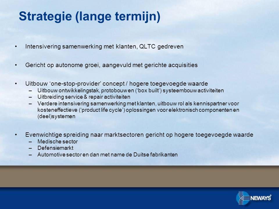 Intensivering samenwerking met klanten, QLTC gedreven Gericht op autonome groei, aangevuld met gerichte acquisities Uitbouw 'one-stop-provider' concep