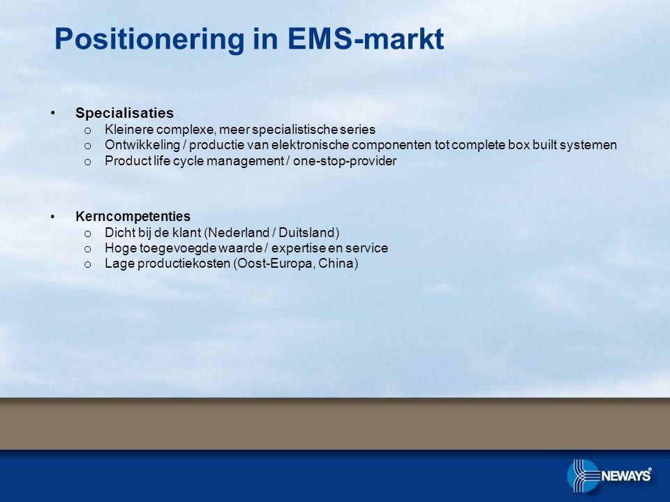 Positionering in EMS-markt Specialisaties o Kleinere complexe, meer specialistische series o Ontwikkeling / productie van elektronische componenten to