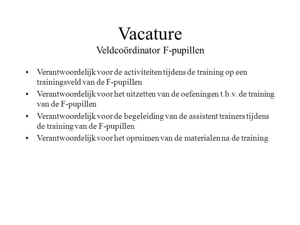 Vacature Veldcoördinator F-pupillen Verantwoordelijk voor de activiteiten tijdens de training op een trainingsveld van de F-pupillen Verantwoordelijk voor het uitzetten van de oefeningen t.b.v.