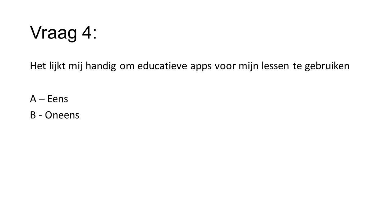 Vraag 4: Het lijkt mij handig om educatieve apps voor mijn lessen te gebruiken A – Eens B - Oneens