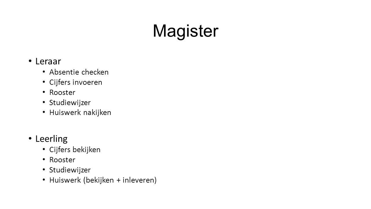 Magister Leraar Absentie checken Cijfers invoeren Rooster Studiewijzer Huiswerk nakijken Leerling Cijfers bekijken Rooster Studiewijzer Huiswerk (bekijken + inleveren)