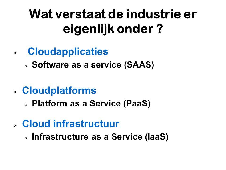 Wat verstaat de industrie er eigenlijk onder ?  Cloudapplicaties  Software as a service (SAAS)  Cloudplatforms  Platform as a Service (PaaS)  Clo