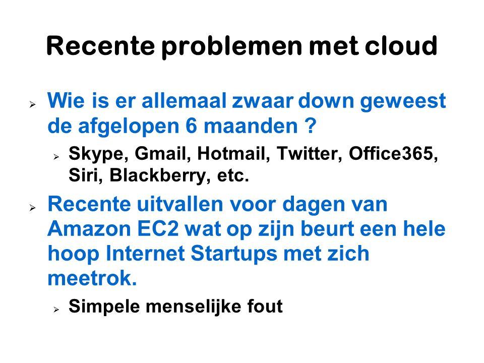 Recente problemen met cloud  Wie is er allemaal zwaar down geweest de afgelopen 6 maanden ?  Skype, Gmail, Hotmail, Twitter, Office365, Siri, Blackb
