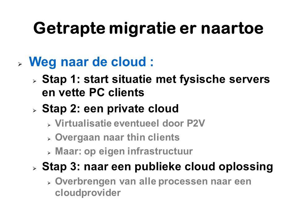 Getrapte migratie er naartoe  Weg naar de cloud :  Stap 1: start situatie met fysische servers en vette PC clients  Stap 2: een private cloud  Vir