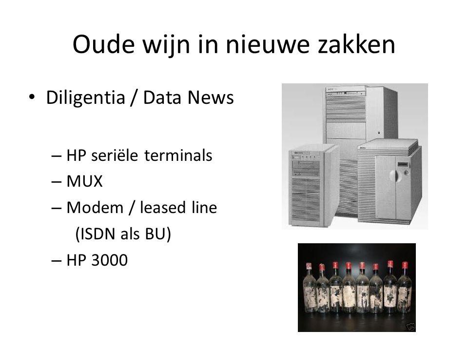 Oude wijn in nieuwe zakken Diligentia / Data News – HP seriële terminals – MUX – Modem / leased line (ISDN als BU) – HP 3000