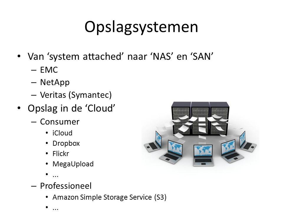 Opslagsystemen Van 'system attached' naar 'NAS' en 'SAN' – EMC – NetApp – Veritas (Symantec) Opslag in de 'Cloud' – Consumer iCloud Dropbox Flickr MegaUpload...