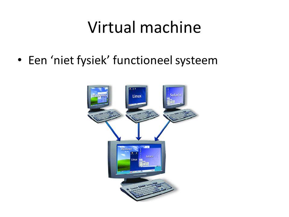 Virtual machine Een 'niet fysiek' functioneel systeem