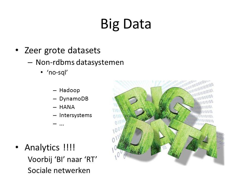 Big Data Zeer grote datasets – Non-rdbms datasystemen 'no-sql' – Hadoop – DynamoDB – HANA – Intersystems –... Analytics !!!! Voorbij 'BI' naar 'RT' So