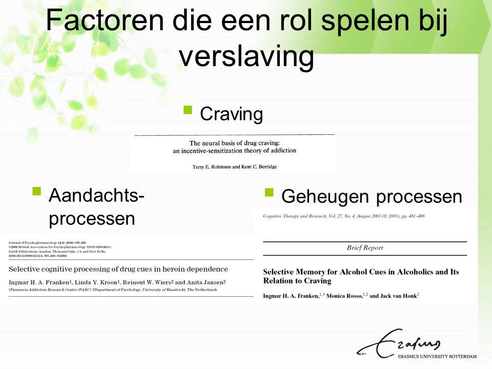  Aandachts- processen  Geheugen processen  Craving Factoren die een rol spelen bij verslaving