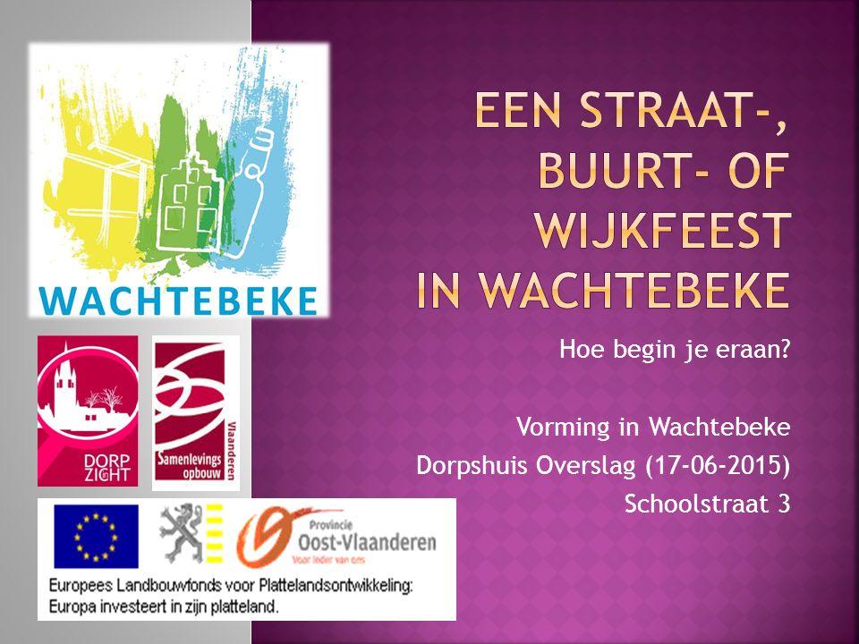 Hoe begin je eraan Vorming in Wachtebeke Dorpshuis Overslag (17-06-2015) Schoolstraat 3