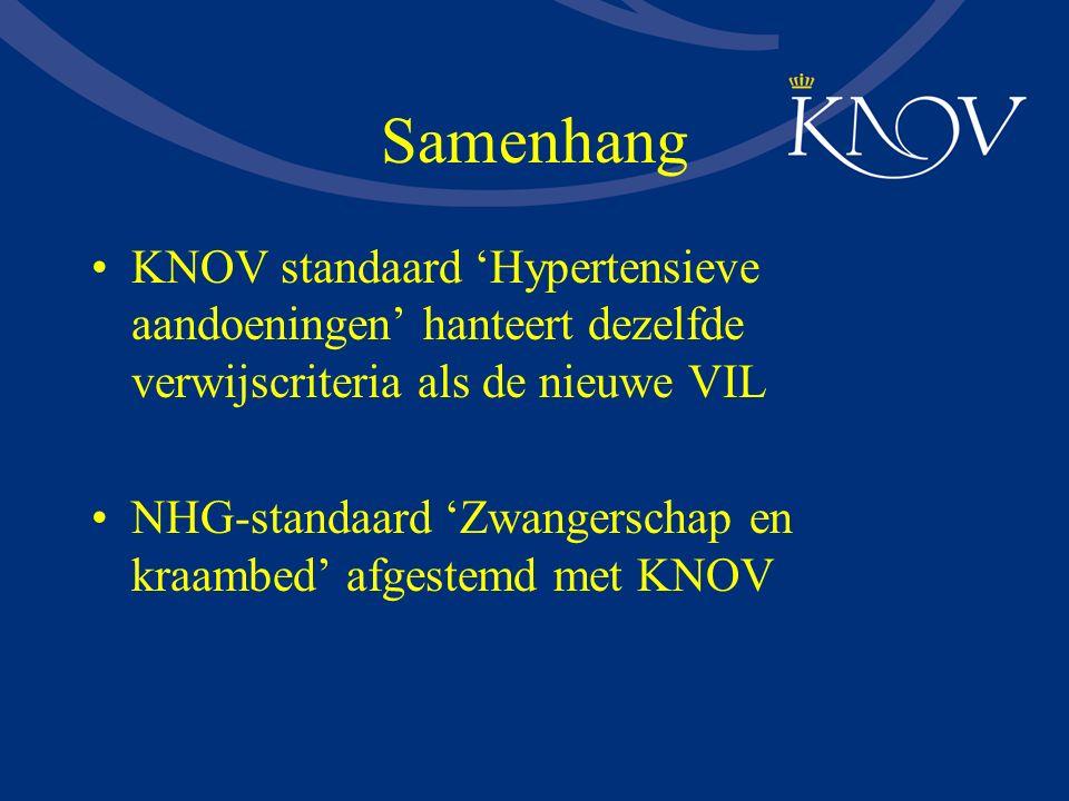Samenhang KNOV standaard 'Hypertensieve aandoeningen' hanteert dezelfde verwijscriteria als de nieuwe VIL NHG-standaard 'Zwangerschap en kraambed' afg